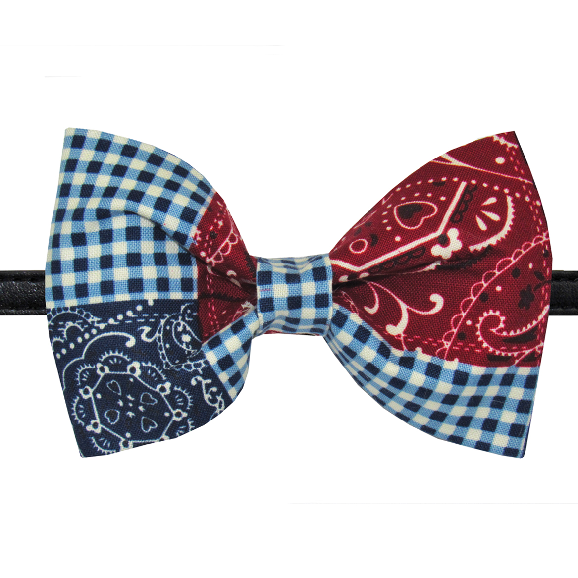 179f8a932375 Red & Blue Gingham Dog Collar Bow Tie / Bow