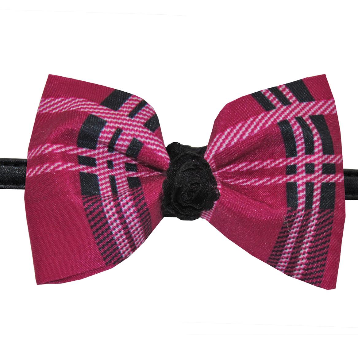dd68a55d56a2 Pink & Black Dog Collar Bow