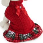 Red Sweater Plaid Dog Dress