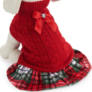 Red Sweater Plaid Dog Dress