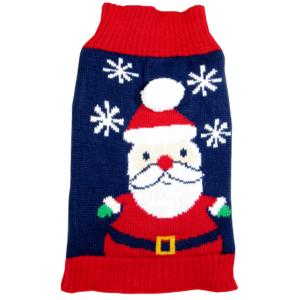 Santa Blue Christmas Dog Sweater